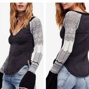 FREE PEOPLE Gray Sunshine Bell Sleeve Thermal Top